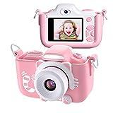 Kriogor Kinder Kamera, Digital Fotokamera Selfie und Videokamera mit 16 Megapixel/ Dual Lens/ 2 Inch Bildschirm/ 1080P HD/ 256M TF Karte, Geburtstagsgeschenk für Kinder (Rosa)