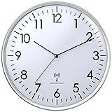TFA Dostmann 60.3514, Analoge Funk-Wanduhr, hohe Genauigkeit, Funkuhr, weiß/silber