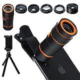 Distianert Handy Kamera Lens Kit, 6 in 1 Universal 12x Zoom Teleobjektiv+0,62x Weitwinkel&20x Makro+235 ° Fisheye+Starburst Objektiv+CPL+Stativ für iPhone X/8/7/6/6S Plus Samsung Android und Telefon