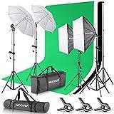 Neewer 2.6M x 3M / 8.5ft x 10ft Hintergrund Stützsystem sowie 800W 5500K Regenschirme Softbox Dauerlicht Set für Fotostudio Produkt Porträt sowie Video Fotografie