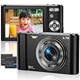 Vnieetsr Digitalkamera 2,7K Ultra HD Mini-Videokamera 44MP 2,8 '' LCD Wiederaufladbare Fotokamera mit 16X Digitalzoom-Kamera für Studenten/Kinder/Erwachsene/Anfänger