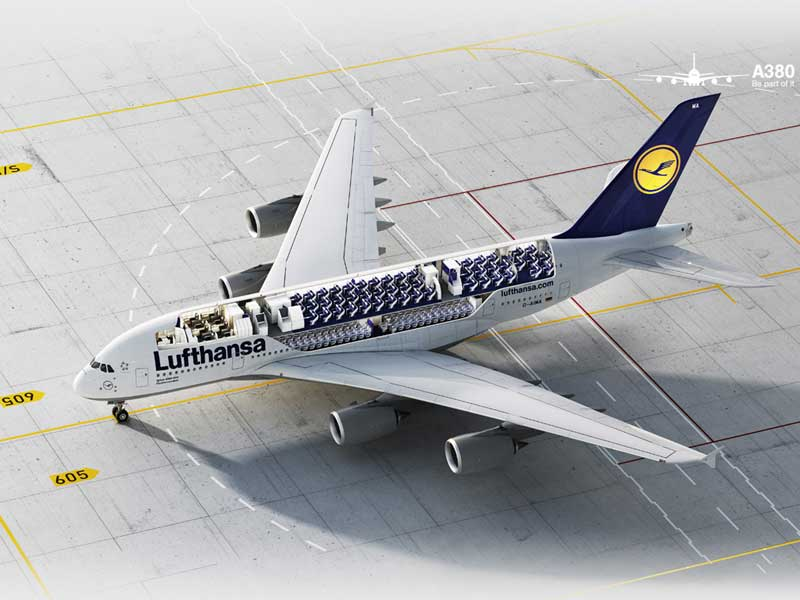 die a380 der lufthansa. Black Bedroom Furniture Sets. Home Design Ideas