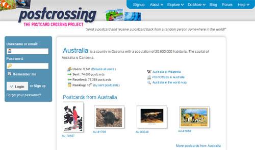 Homepage von Postcrossing
