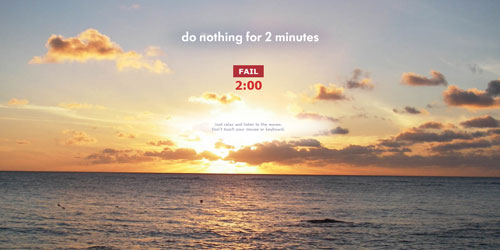 "Homepage ""Do nothing for 2 minutes"""
