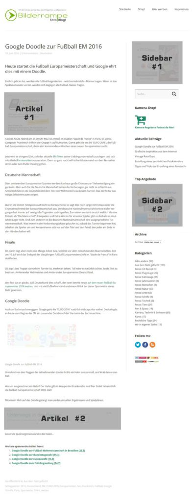 Werbebanner-Plätze auf Bilderrampe.de