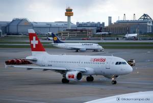 Lufthansa Boeing und Swiss Airbus in Hamburg