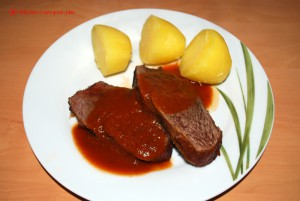 Rinderschmorbraten angerichtet