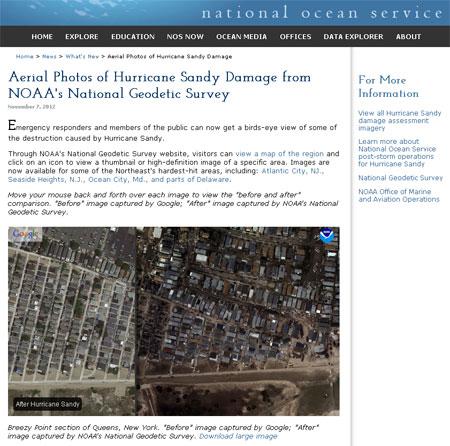Zerstörungen durch Sandy | Homepage der NOAA