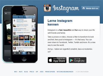 Instragram Homepage