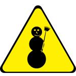 Gelbes Dreieck mit Schneemann