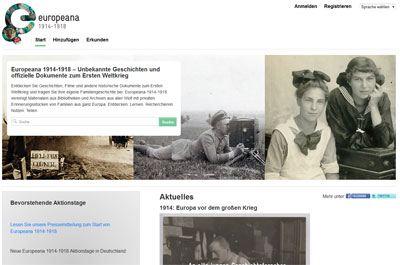 Screenshot Europeana 1914-1918