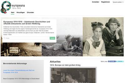 Screenshot Europeana 1914-1918