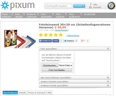 Pixum Produktseite