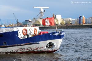 Hamburg Flagge an einem Hafenschiff