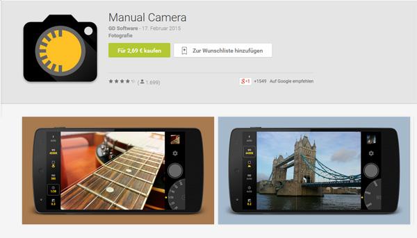 Screenshot: Manual Camera im Google Play Store