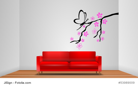 Wandtattoo Pflanze hinter einem Sofa