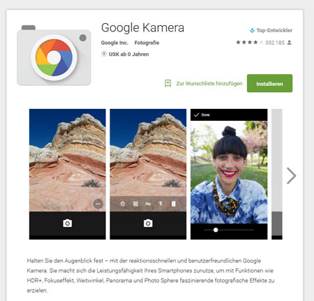 Screenshot: Google Kamera im Google Play Store