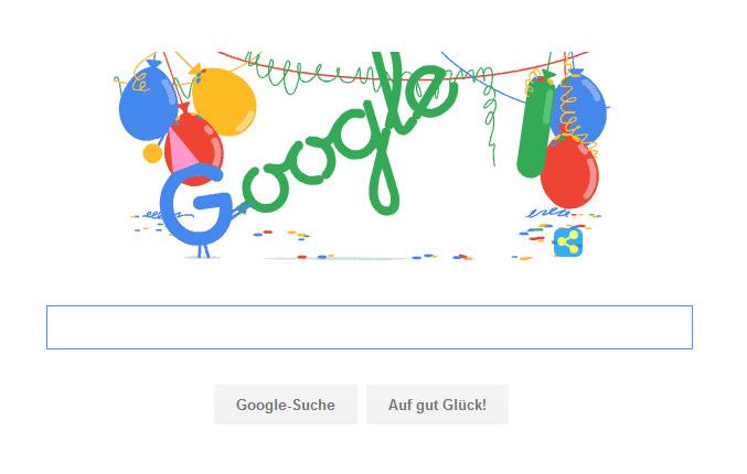 Google Doodle zum 18. Geburtstag von Google