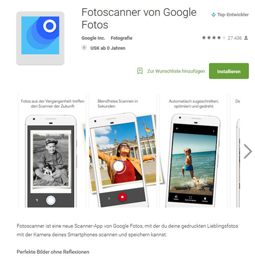 Screenshot: Google Play Fotoscanner App